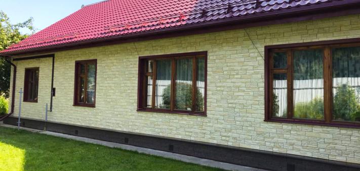 Фасадные панели Docke Stein под камень в цвете Янтарный