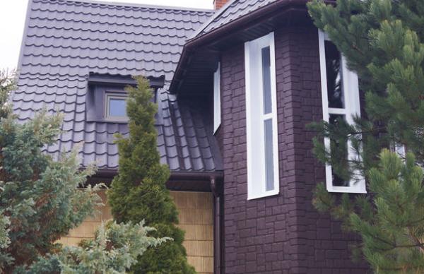 Фасадные панели Гранд Лайн Крупный камень в цвете Коричневый