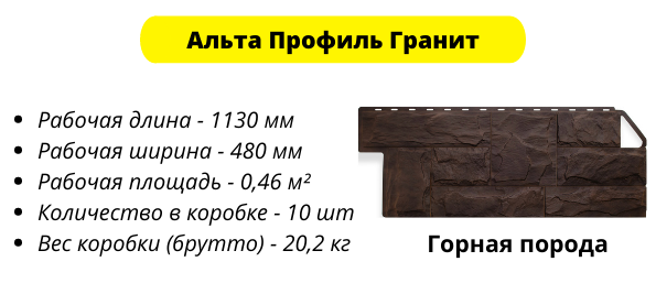Фасадные панели Альта Профиль Гранит - параметры изделия
